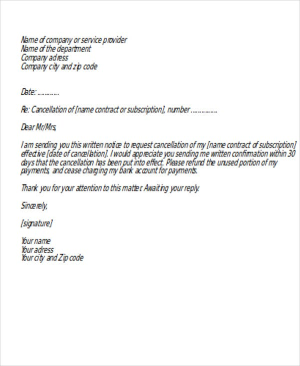 example of letter to request a service provider