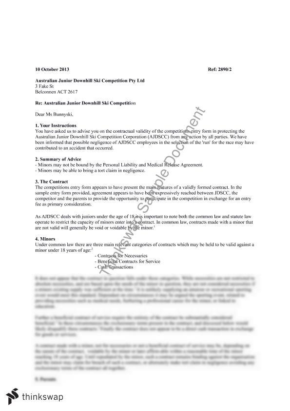 letter of advice to client example australia