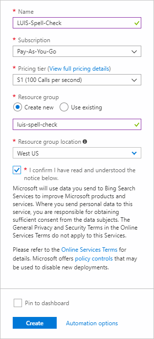 bing spell check api example