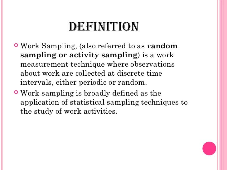 theory of work sampling with example