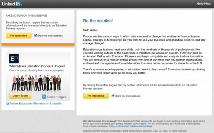 linkedin inmail example job inquiry