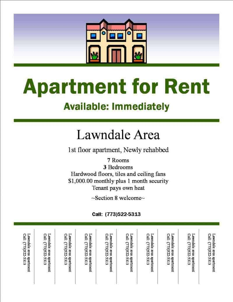 apartment for rent ad example