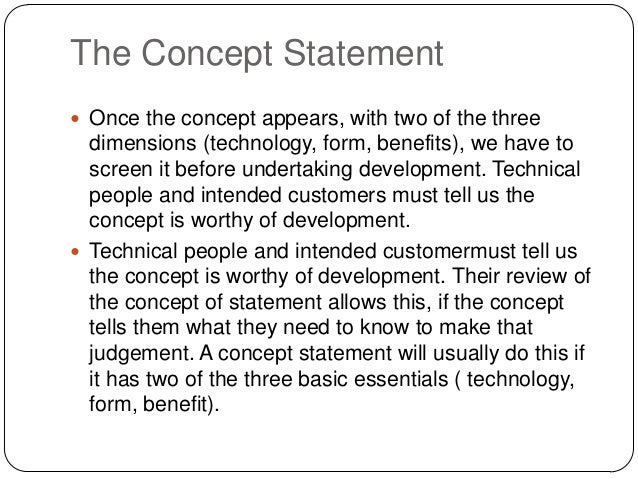 example concept statement for a product