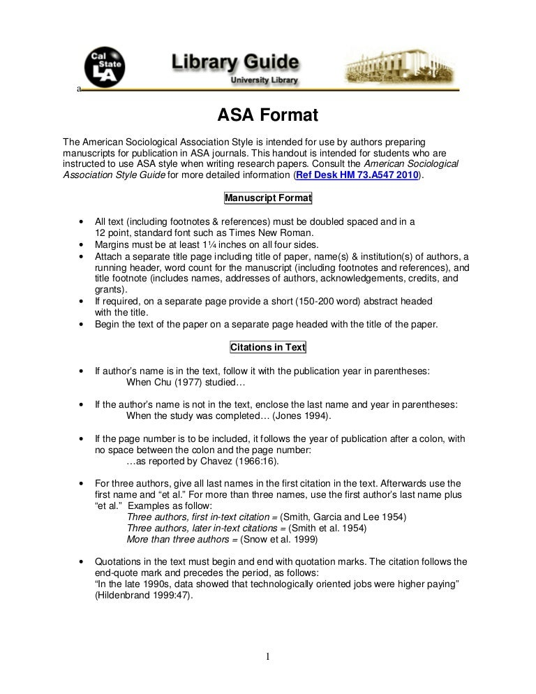 example of a paper written in asa format