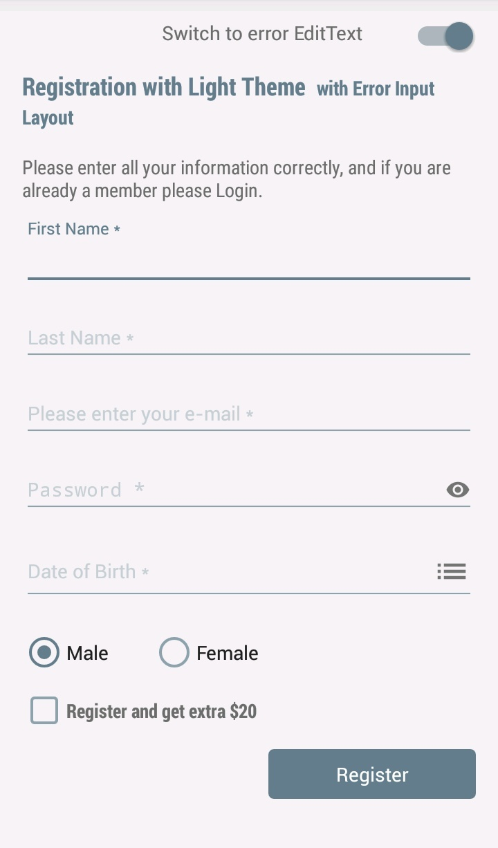 android user registration form example