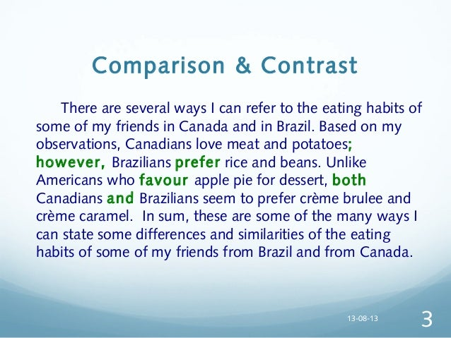 example of comparison and contrast paragraph about love