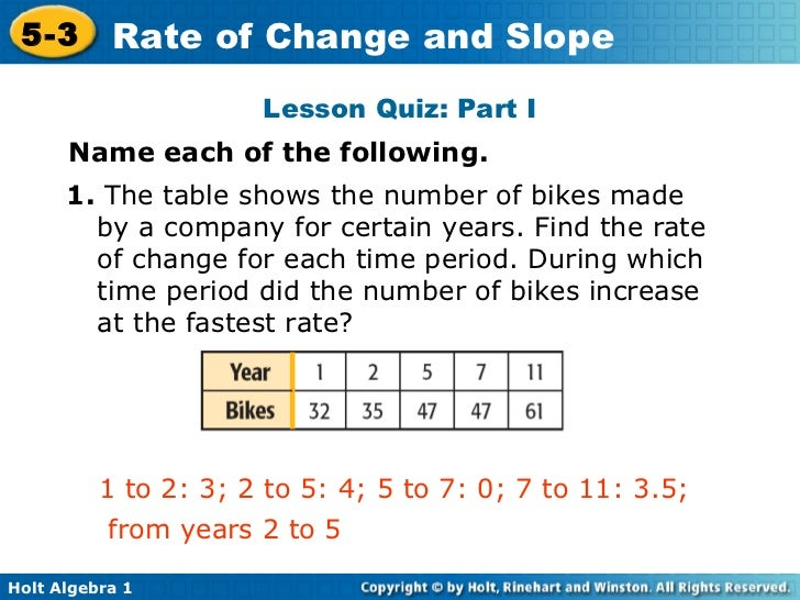 example of variable rate of change