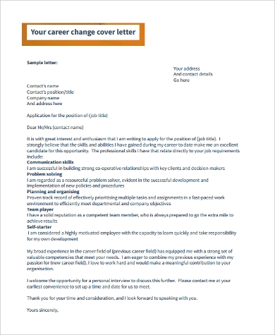 example cover letter for career change