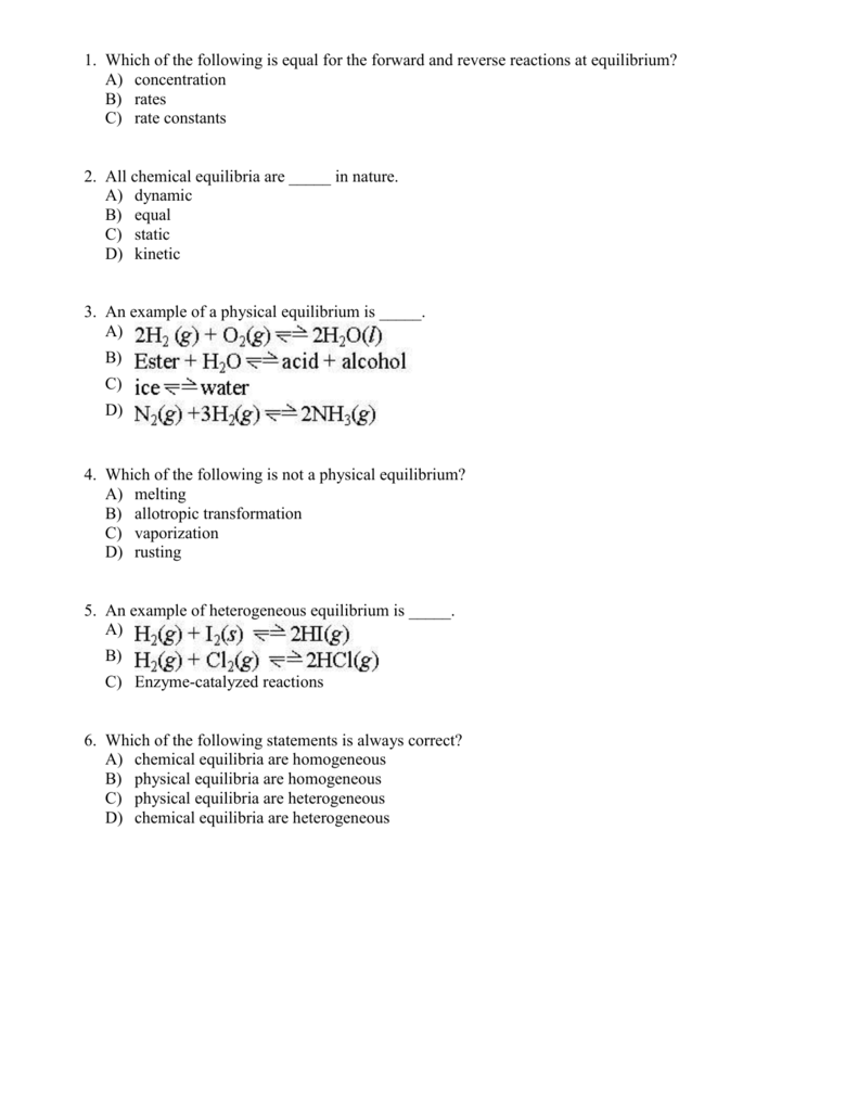 which of the following is an example of dynamic equilibrium