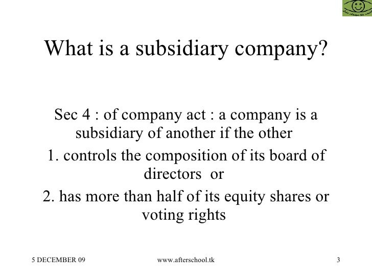 holding and subsidiary company example