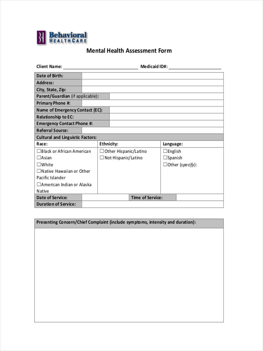 psychosocial assessments in mental health example