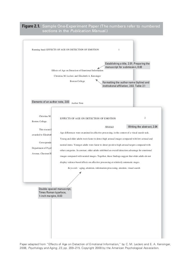 one page essay format example apa