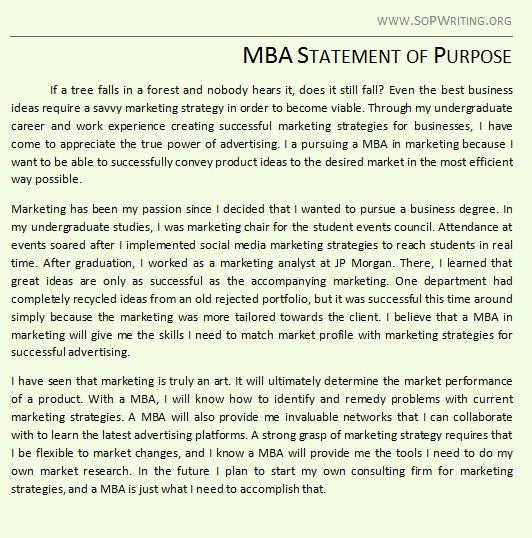 example statement of purpose college