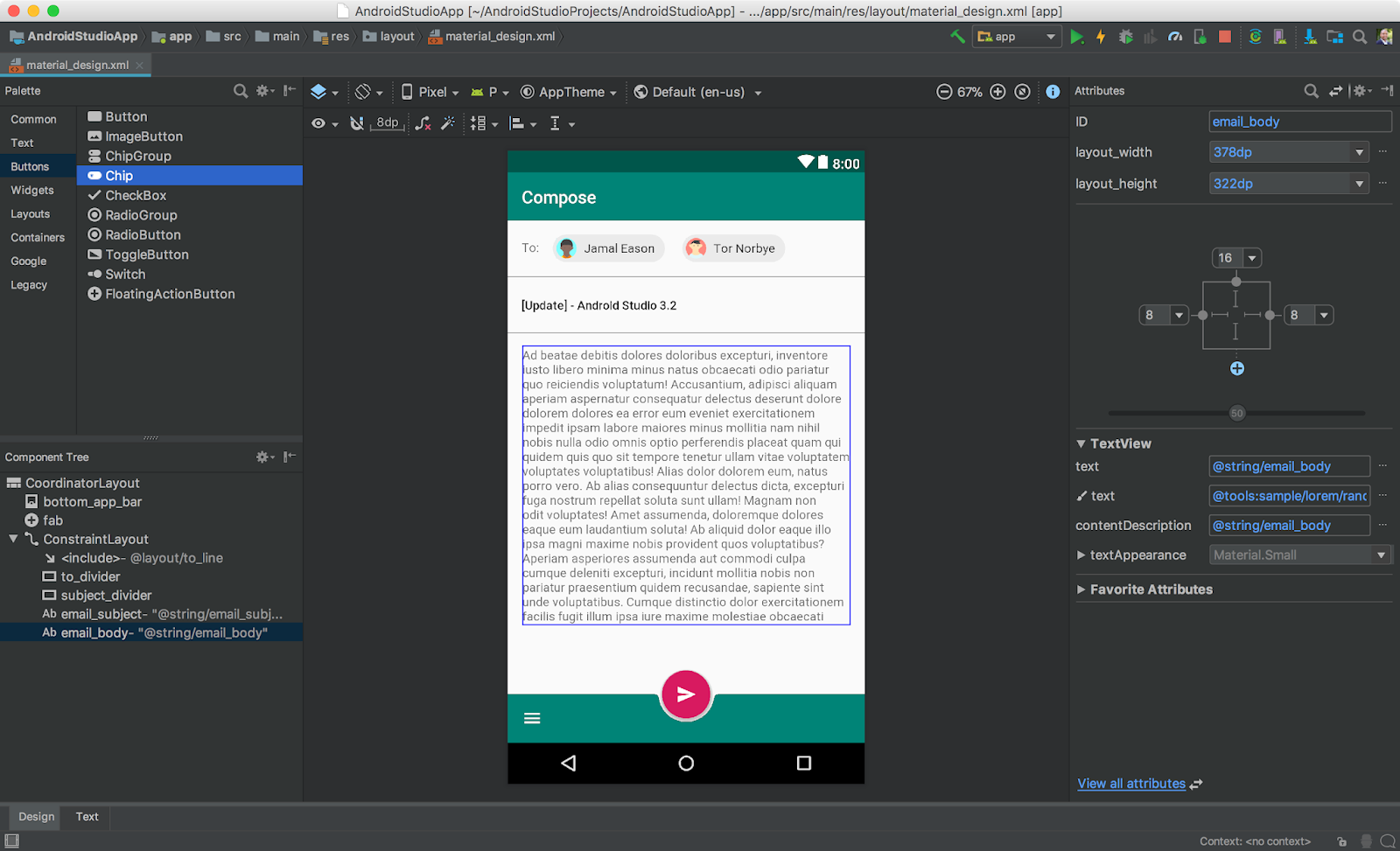 android studio recyclerview mail card example