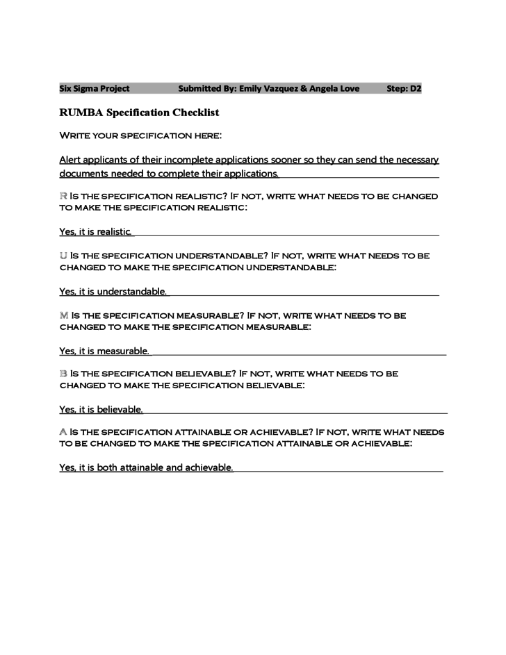 black belt project charter example
