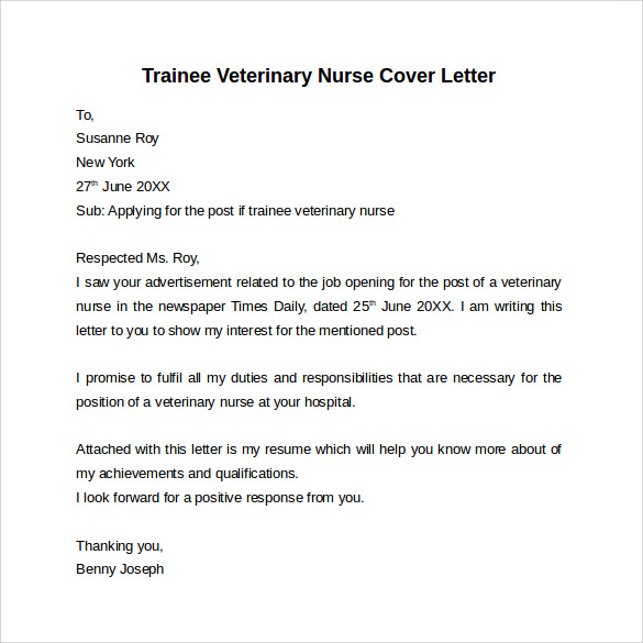 example of simple cover letter to animal hospital