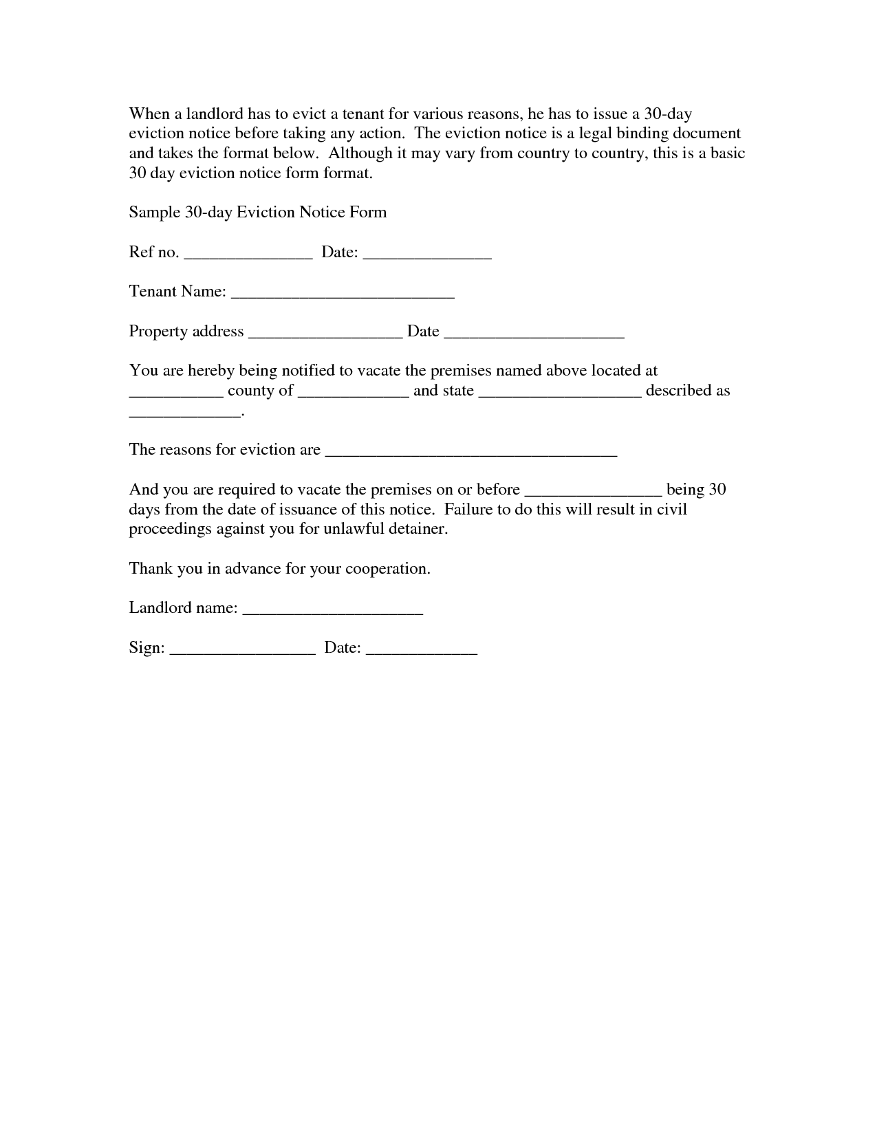 example of 30 day notice letter to landlord