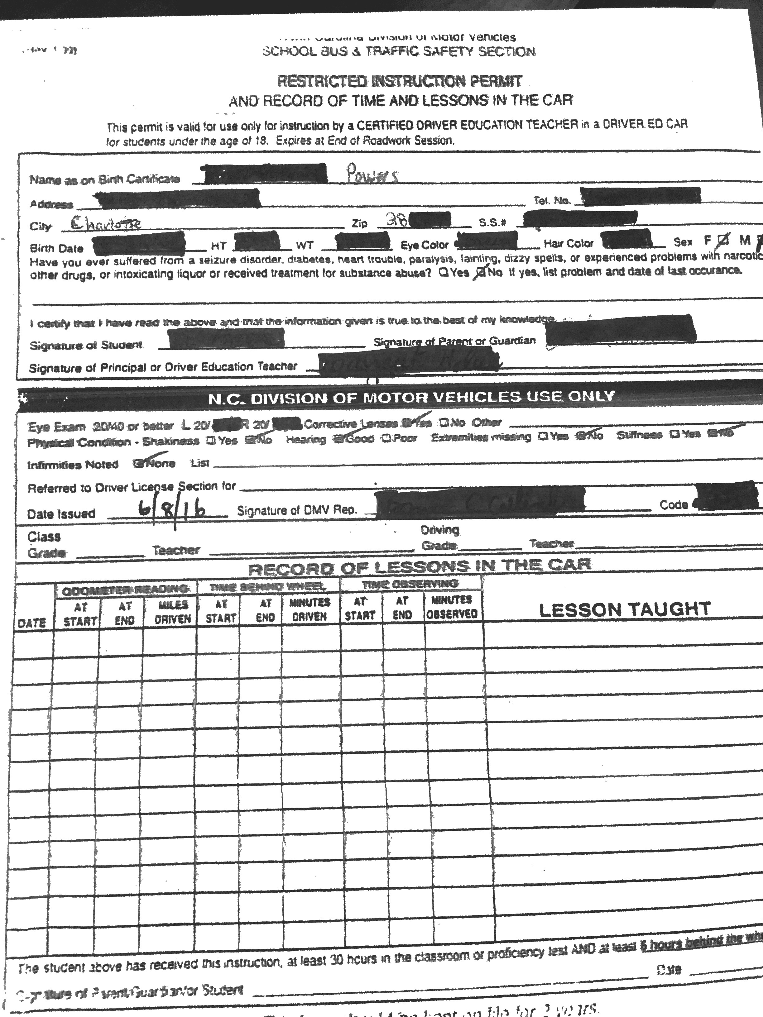 example of driving log sheet
