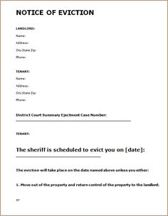 example of eviction letter to tenant