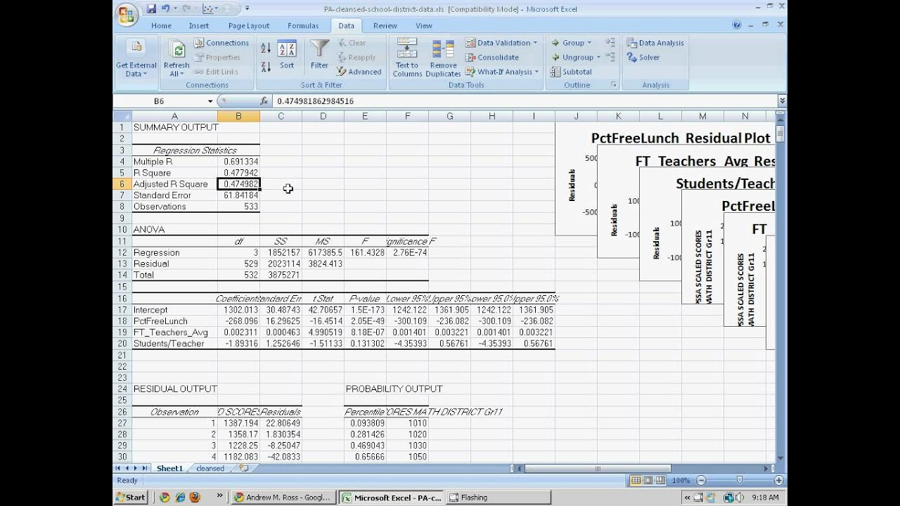 example of multiple linear regression analysis on wood data