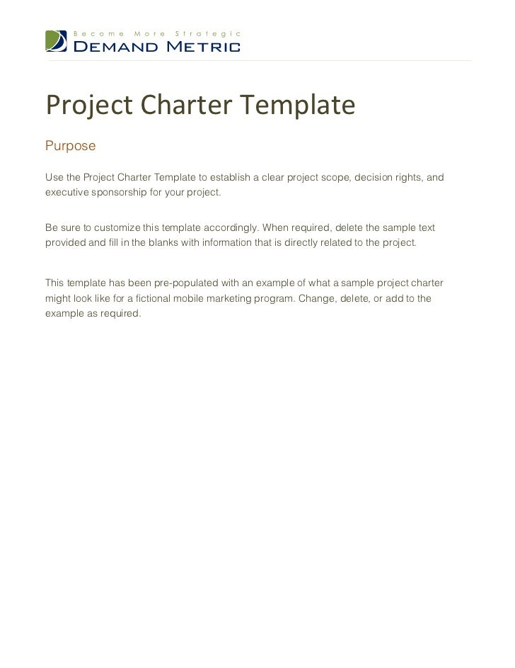 example of project charter for a wedding