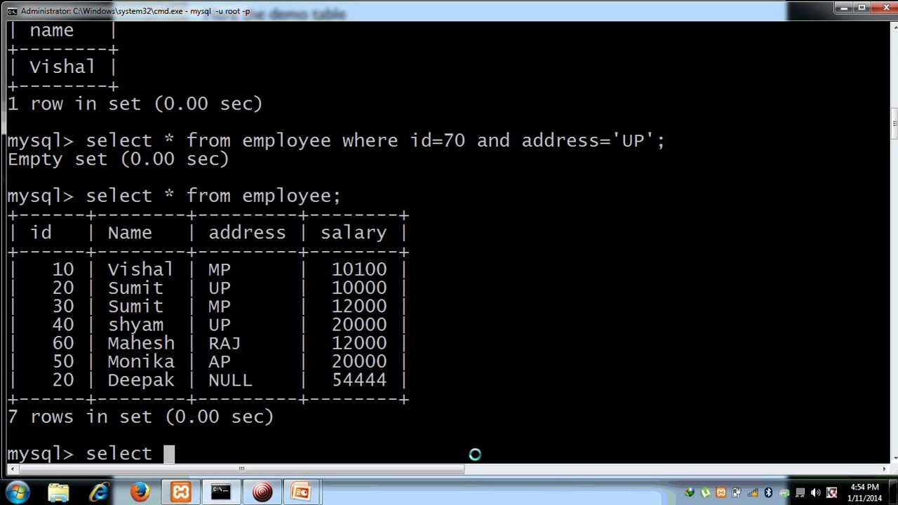 operators in mysql with example