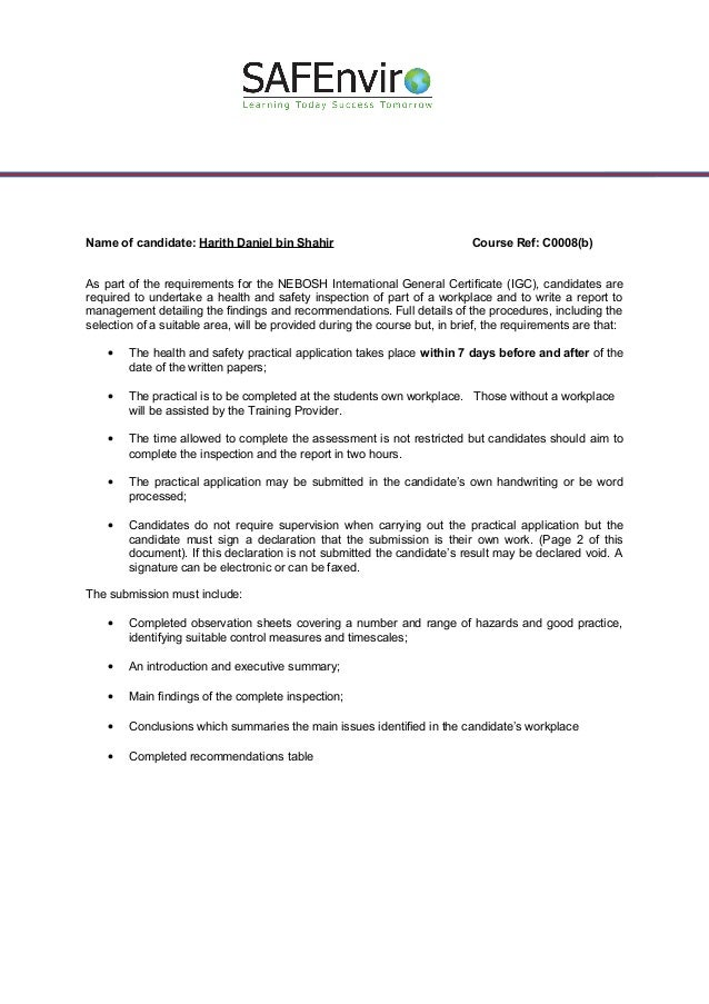 health and safety inspection report example