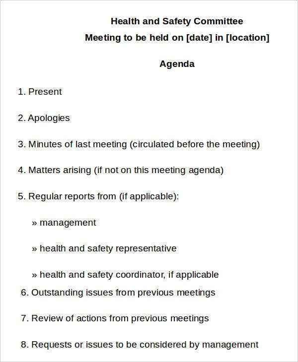 health and safety meeting minutes example