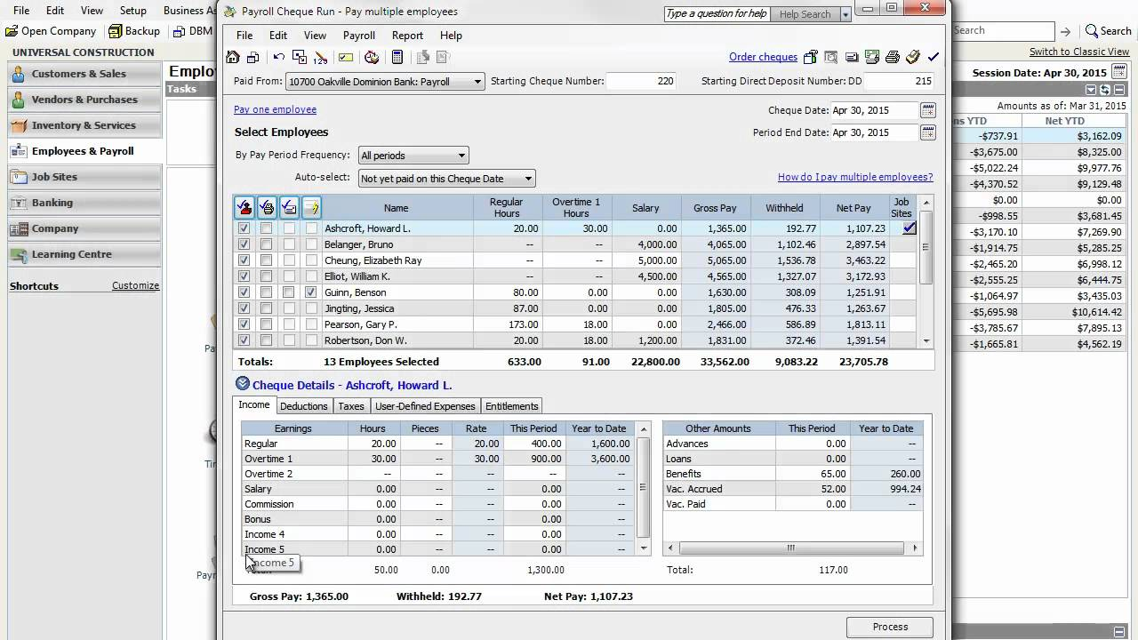 payroll journal entry example canada