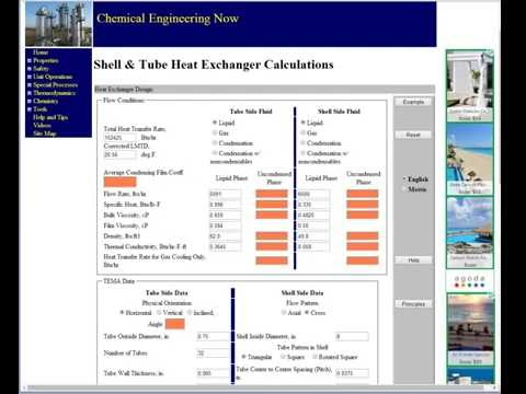 shell and tube heat exchanger calculation example