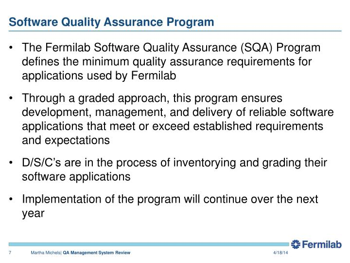 software quality assurance policy example