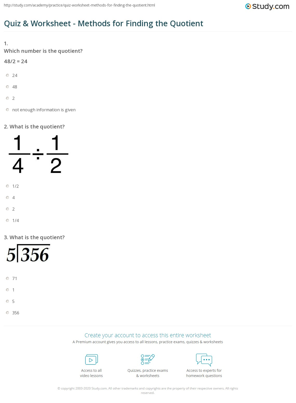 the quotient of a number example